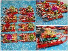 новогодние санки из конфет