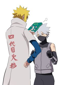 """Now, where did you get this?"" <-- Lol, that's great! Minato and Kakashi"