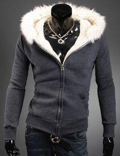 Warm Fur Trim Pocket Design Hoodie