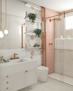 Parede geométrica rosa. Small Bathroom Interior, Bathroom Design Luxury, Bathroom Design Small, Modern Bathroom, Home Room Design, Home Design Decor, Design Interior, Teen Room Decor, Diy Bedroom Decor