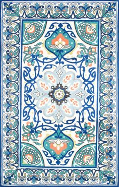 Designed with brilliant colored floral patterns, this 100% polyester, machine-made rug invigorates your space with its striking jewel toned design. The area rug works great in high-traffic areas.