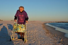 Ruby Holt, 100, of Columbia, Tennessee, visited the beach for the first time in her life this week at the Perdido Beach Resort in Orange Beach, Alabama, on Nov. 19. Dennis Pillon / AL.COM / Landov