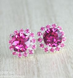Hot pink crystal earrings, Fuschia and Light Rose Swarovski Crystal earrings #EndoraJewellery