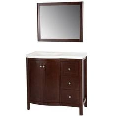Madeline 36 in. W Vanity in Chestnut with Vanity Top in White and Wall Mirror-MD36P3C-CN at The Home Depot