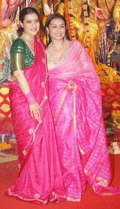 Kajol and Rani Mukherji Turn Up In The Best Shades Of Pink Sarees For Durga Puja - HungryBoo Kerala Saree Blouse Designs, Saree Blouse Neck Designs, Bollywood Designer Sarees, Saree Trends, Collor, Stylish Sarees, Kurti Designs Party Wear, Saree Look, Indian Designer Outfits