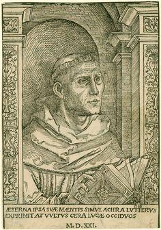 Luther als Augustiner. AETERNA IPSA SVAE MENTIS SIMVLACHRA LVTHER[us] EXPRIMIT AT VVLTVS CERA LVCAE OCCIDVOS. (Das unvergängliche Bildnis seines Geistes drückt Luther selbst aus, die vergänglichen Züge dagegen Lucas' [Cranachs] Porträt). M. D.XXI. - [Lucas Cranach d. Ä.?] (1472-1553, Stecher) - Holzschnitt, 1521