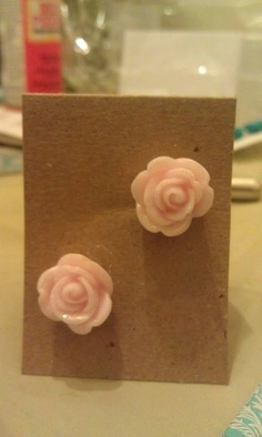 Pink rose earrings with a little sparkle by AdelaidsCreations, $2.00