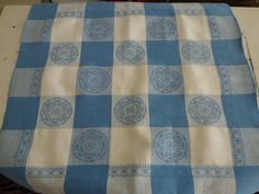 blue and white tablecloth - $10