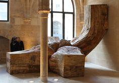 Henrique Oliveira, Transubstanciation   2013   Collège des Bernardine, Paris   plywood   3,4 x 4,35 x 4,85m