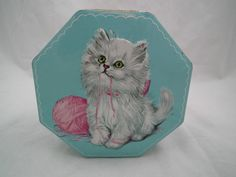 Vintage England Toffee Tin with Shabby Persian Kitty Cat Kitten Pink Yarn Blue | eBay