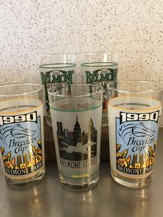 Vintage Horse Racing Glasses Tumblers Belmont Stakes 1997 1998