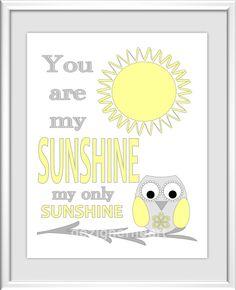Baby Nursery Wall Art - Digital Art - You Are My Sunshine - Yellow - Grey