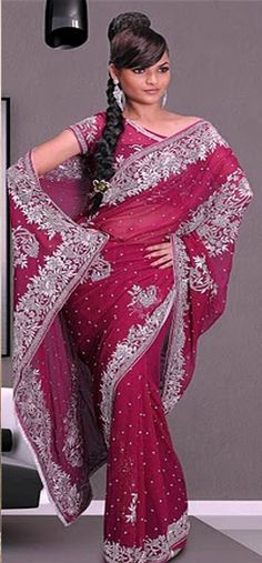 #Red #Saree £200.00 For full product information http://www.reevaonline.co.uk/sarees/deep-wine-faux-georgette-saree-with-blouse-fabric.html