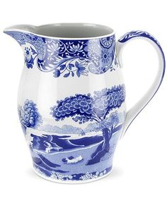 This classic Spode Blue Italian jug features the famous blue and white design framed by an Imari border, inspired by Chinese porcelain.   Porcelain   Dishwasher and microwave safe   Web ID:253105