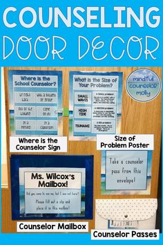 This school counselor door decor is perfect for anyone who loves the beach or who is interested in creating a peaceful counseling environment! This product includes three different themes: palm trees, seashells, and a watercolor beach theme. School Counselor Door, School Counselor Organization, School Guidance Counselor, High School Counseling, Elementary School Counselor, Counseling Office Decor, Career Counseling, Social Work, Palm Trees