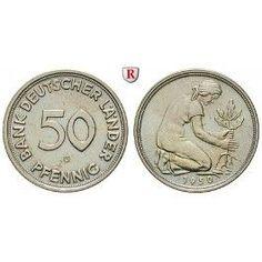 Bundesrepublik Deutschland 50 Pfennig 1950 G f.st J. Ideas Scrapbook, Friend Scrapbook, Old Coins, Rare Coins, German Coins, Canadian Coins, Error Coins, Copper Nickel, Coin Collecting