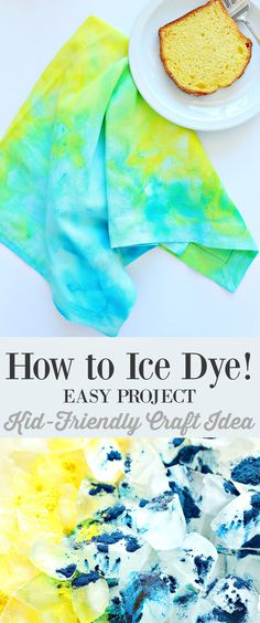 Learn how to ice dye - such a fun, kid-friendly craft idea // Easy DIY ice dyed napkin tutorial - click through too see different examples of the organic designs ice dyeing can create! Tutorial by /danslelakehouse/ Ice Tie Dye, How To Tie Dye, How To Dye Fabric, Dyeing Fabric, Diy Tie Dye Ombre, Easy Crafts, Diy And Crafts, Easy Diy, Arts And Crafts