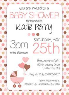 Baby Shower Invitation  Girls Brown and Pink by StudioTwentyNine, $8.00