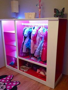 Dad Turned A TV Cabinet Into An Incredible Dress-Up Armoire When it was all finished, his little girls had the perfect princess dress-up station.When it was all finished, his little girls had the perfect princess dress-up station. Dress Up Wardrobe, Dress Up Closet, Pax Wardrobe, Wardrobe Rack, Girls Bedroom, Bedroom Decor, Girls Princess Bedroom, Trendy Bedroom, Bedroom Storage