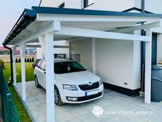 Przyścienna wiata samochodowa Carport Plans, Garage Plans, House Deck, Facade House, Outdoor Awnings, Gazebos, Carport Designs, Front Porch Design, Shed Building Plans
