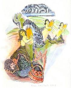 'Girls Dancing With Torah' - Karen Weintraub Simchat Torah, Sabbats, Jewish Art, Judaism, Girl Dancing, Local Artists, Art Forms, Girls, Artwork
