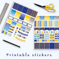 Blue And Gold Arrows Planner Stickers -  http://etsy.me/2cC49tA Perfect for create handmade planners, stationery, greeting cards, craft items and much more.