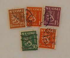 5 Vintage Suomi Lion Stamps,  Colorful Set, Nice Finland Craft Supply Markkaa…