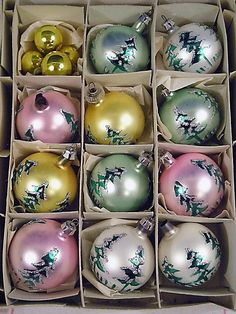 Vintage Christmas Ornaments Lot Painted Glass Trees