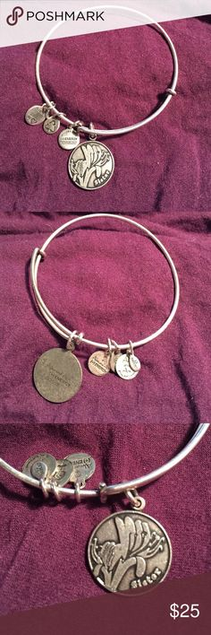 EUC Alex + Ani Energy SISTER shamrock charm bangle EUC Alex + Ani Energy SISTER shamrock charm bangle in silver. Comes from a smoke free home and ships in one business day! Alex & Ani Jewelry Bracelets