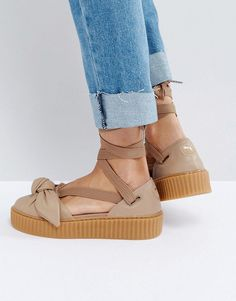 PUMA X FENTY BOW CREEPER SOLE SANDAL - BEIGE. #puma #shoes #