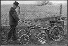 """One of the earliest """"garden tractors"""" was invented by Cornelius A. Peters and patented in 1915 It became the Beeman garden tractor Antique Tractors, Vintage Tractors, Old Tractors, Vintage Farm, Lawn Tractors, Lawn Equipment, Old Farm Equipment, Walk Behind Tractor, White Tractor"""