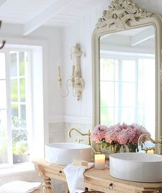 We are knee deep in a big project over here- and this bathroom project is almost wrapped up... I say almost because we are waiting on a few things and the  #Marble countertop yet. But even so- this vanity I designed after falling hard for a piece from @eloquenceinc is talking sweet romance to me already. Semi reveal coming to my blog- stay tuned!! And what do you think of it?  #sneakpeek ?  #bathroom #vanity #classy #vintage #home #work #classy #love #romantic #reflection #mirror…