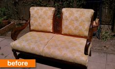 Before and After: A Sturdy Settee Gets a Makeover for a Patio!  Re-upholster your own furniture with designer fabrics that are a fraction of the retail cost at FabricSeen.com!