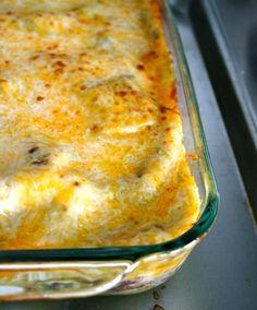 {recipe} Easy, Cheesy Green Chile Chicken Enchilada Casserole