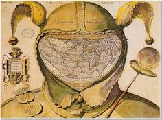 World Map Drawn on a Fool's Head. A beautiful map from around 1590. Interestingly, nobody knows who created it and it is interpreted as a sort of 16th century commentary/protest.