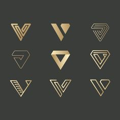 V letter type symbol monogram logo design variation for branding black and gold graphic design logo design inspiration ideas luxury brand hotel Identity Design, V Logo Design, Luxury Logo Design, Web Design, House Design, Logo Design Trends, Brand Identity, Logo Branding, Self Branding