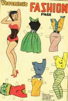 """Veronica Lodge (yes, of Archie's """"Betty and Veronica"""") is a style goddess and one of my all-time favourite fashion plates. Sure, she is technically a cartoon character who will celebrate her birthday next month,… Vintage Paper Dolls, Vintage Toys, Paper Toys, Paper Crafts, Comic Book Paper, Comic Books, Comic Art, Newspaper Paper, Creation Art"""