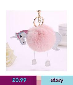 b774844e941 Keyrings Hot Soft Faux Fluffy Fur Pom Unicorn Keychain Keyring Handbag  Charm Gift Toy #ebay