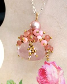 Rose quartz, pink peruvian opal, rhodochrosite, pearl, brass and sterling silver necklace -Vintage Rose by SirpaKJewelry