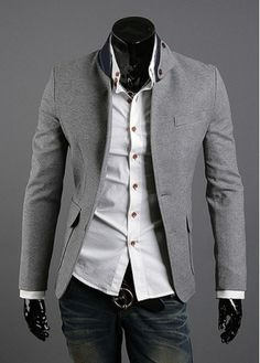 Gentlemanlike Stand Collar Long Sleeve Business Suits Grey on sale only US$26.44 now, buy cheap Gentlemanlike Stand Collar Long Sleeve Business Suits Grey at martofchina.com