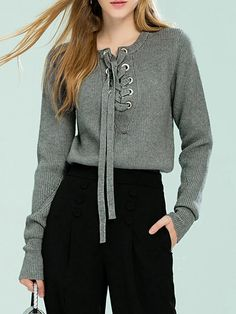 Shop Sweaters - Gray Lace Up Simple Knitted Solid Sweater online. Discover unique designers fashion at StyleWe.com.