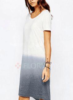 Dresses - $40.99 - Cotton Blends Solid Short Sleeve Mid-Calf Casual Dresses (1955124679)