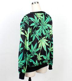 Black Long Sleeve Sweatshirt With Green Leaves Print Pattern
