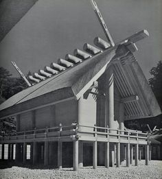 Figure 11-3 This Ise Shrine has many aspects of typical Shinto Architecture including wooden piles raising the building off the ground, a thatched roof held in place by horizontal logs, and the use of un-painted cypress wood.  The Shrine is believed to have been built in the first century CE. The shrine is both ancient and constantly renewed incarnating one characteristic of Shinto Faith, ritual purification, similar to how life dies in the winter and is reborn in the spring. 358-359 BS