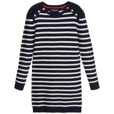 Navy Blue & White Striped Knitted Cotton Dress, Tommy Hilfiger, Girl