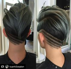 Awesome undercut nape design Cut