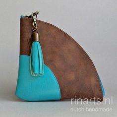 Zipper pouch in brown and aqua leather. Triangel zipper purse with tassel