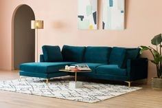 Adams Extended Chaise Sectional Sofa, Deep Teal Velvet, Right Facing, Brass U Shaped Sectional Sofa, Sectional Sofa With Chaise, Living Room Sectional, Teal Living Rooms, Home Living Room, Living Room Decor, Teal Couch, Teal Velvet Sofa, Blue Velvet Sofa Living Room