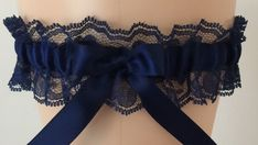 Navy Blue Lace Wedding Garter, Bridal Garter, Prom Garter, Garter Belt, Lace Garter