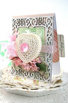 shabby chic card-HEART LOVE LETTER box-mothers day i love you